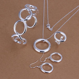 Wholesale Letter O Necklace - whole sale925 stamped silver plated loverly letter O open cuff bracelet necklace drop of earring ring women fine fashion jewerly wholesale