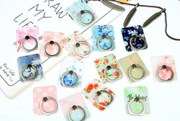Wholesale patterned paint - Wholesale new mobile phone ring buckle Crystal painted pattern metal bracket 360 ° rotation paste universal