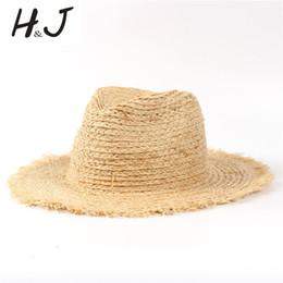 2019 chapeau de paille noir réglable 100% raphia paille été femmes plage soleil chapeau avec gland loppé large bord panama sunbonnet pour élégante dame