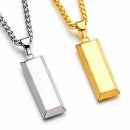 Wholesale Wholesale Bullion - Cube Bar Bullion Necklace & Pendant Gold Plated necklace Hiphop BRAND Dance Charm Franco Chain Hip Hop Golden Jewelry For Gifts