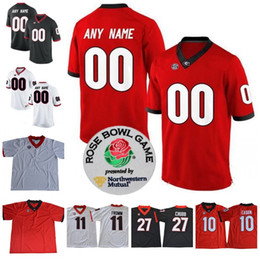 Wholesale Football Jersey Numbering - Custom UGA Georgia Bulldogs College Football 10 Jacob Eason 11 Jake Fromm 27 Nick Chubb Personalized Any Name Number Rose Bowl Jerseys