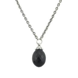 Colar de pingente de ônix preto on-line-Colar de Pingente de Onyx Pedras Pretas Fit Troll Encantos Europeus 925 Sterling Silver Beads DIY Presente Da Jóia Para A Mulher
