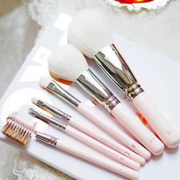 Maquillaje rosa bebé online-HAKUHODO Baby Pink Sakura 6-Brush Set - Edición especial 531 Powder 110 Blush 004 Eyeshaow 149 Smudge 264 Brochas de maquillaje de alta calidad para cejas