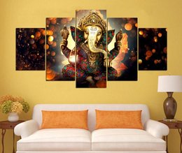Wholesale Elephant Oil Canvas Painting - Canvas Painting Wall Art Home Decor For Living Room HD Prints 5 Pieces Elephant Trunk God Modular Poster Ganesha Pictures