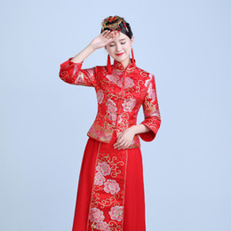 fashion chinese wedding dress Coupons - RED Spring Autumn Especial Fashion Chinese bride wedding gown dress Golden cheongsam Suzhou embroidery female golden Qipao