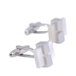 SAVOYSHI Luxo Branco Shell Bottons para Homens Com Caixa de Camisa Cuff Abotoaduras Quadrado de Marca Presente de Casamento Clássico Jóias Por Atacado de