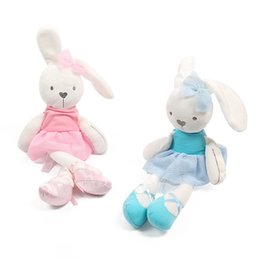 Wholesale girls best christmas dresses - gifts for children 45cm Cute Rabbit with Pink Dress Baby Plush Toy Soft Ballet Bunny Rabbit Doll Kids Comfort Appease Doll Best