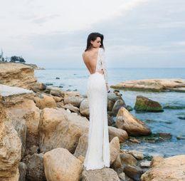 Wholesale Eva Caps - long sleeved backless sheath bohemian lace beach wedding dresses 2017 eva lendal bridal bateau neckline sweep train bridal wedding gowns