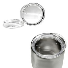 Wholesale wholesale clear plastic cups - 9OZ Egg Cups Lids Clear Food Grade PP Wine Glasses Lid Replaced Vacuum Lid Durable Drinkware Covers