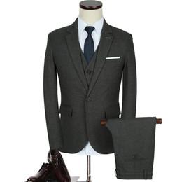 Wholesale plus size clothing wedding party - New Men Business plus-size Suits Wedding Suit Sets Formal Fashion Blazer Brand Party Masculino Suits Clothes(Jacket+Pant+Vest )