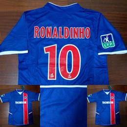 Винтажные майки-майки онлайн-PSG Paris Ronaldinho Top Thailand 02-03 French Ligue1 paris home jerseys Vantage Футбольный Jersey Retor Throwback Vintage 2002 2003 Рубашки Роналдиньо Майо