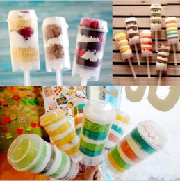 Wholesale Eu Stocks - Push Up Pop Containers New Plastic Push Up Pop Cake Containers Lids Shooters Wedding Birthday Party Decorations CCA9563 500pcs