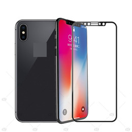 Wholesale retail packaging printing - For iphone x 5 6 7 8 For iphone 6 plus 8 plus Full Screen Silk Print Toughened Tempered Glass Screen Protector 100pcs lot no retail package