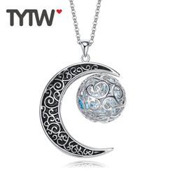 Wholesale Long Swarovski Necklace - wholesale TYTW Women Lady Girl Fashion Crystals from Swarovski Long Sweater Necklace Copper Chain Moon Pendant Female Luxury Decoration