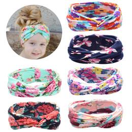 Wholesale Kids Cotton Headbands - Kids Headband Bohemia Retro Cross Hair band Hair Accessories Elastic Florals print Hairwear Cute 7colors 2018