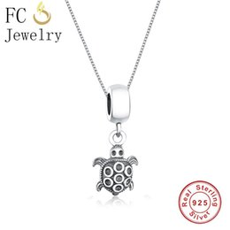 sterling silver choker collar Promo Codes - FC Jewelry 925 Sterling Silver Vintage Animal Turtle Tortoise Back Shell Necklaces & Pendants Chain Women Choker Trinket Collar