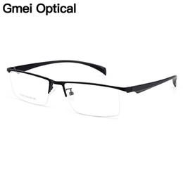 fb992226df86c Lunettes en alliage de titane semi-sans monture pour hommes de Gmei Optical  Frame pour hommes Eyewears Jambes flexibles Lunettes de galvanoplastie Y6058