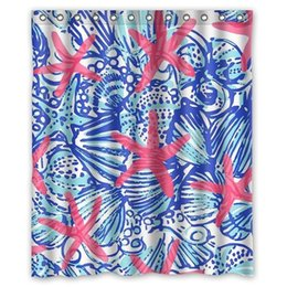 Canada I-Manggo Lilly Pulitzer imprime le rideau de douche Starfish personnalisé, 72x72 pouces supplier starfish curtains Offre