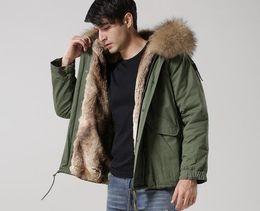 Recién llegado de los hombres chaquetas de nieve abrigos marrón piel de mapache recortar marca Meifeng caqui forro de piel de conejo ejército lienzo verde mini parkas desde fabricantes