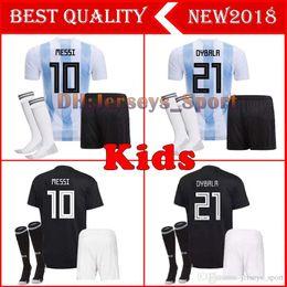 6ec876231 2018 Argentina World Cup kids kit MESSI DYBALA Argentina child home Away soccer  jersey AGUERO DI MARIA HIGUAIN 2018 Children football shirts