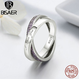 Wholesale Finger Promise Ring - BISAER 100% 925 Sterling Silver Sweet Promise Ring, Pink CZ Female Finger Rings for Women Wedding Engagement Jewelry GO7650