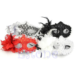 Wholesale party eye mask red black - Hogar Paradise New Arrival Sexy Venetian Lace Feather Ball Masquerade Mask Paillette Flower Party Eye Masks