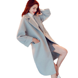 Wholesale Korean Winter Coats For Women - Long Slim Fit Woolen Coats for Women 2017 Fall Winter Turn Down Neck Overcoat Womens Korean Lapel Quilted Thicken Outwear XH917