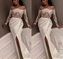 Wholesale empire dresses for sale - For Sale Empire Prom Dresses Lace Appliques And Satin Split Formal Evening Dresses Long sleeves Prom Gowns Formal Occasion Dresses