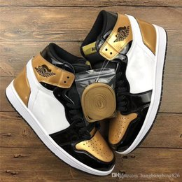 Wholesale Nylons Toe - Air Retro 1 High Gold Toe Basketball Shoes For Men Authentic Sneakers Original Quality With Box Black White 2018 Newest Release