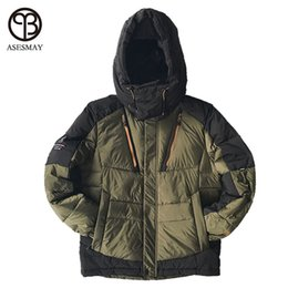 Wholesale Men Snow Coats - Asesmay High Quality Men Fashion White Duck Down Jacket Winter Hooded Down Coat Waterproof Zipper Casual Snow Parka Thick Warm