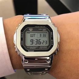 Reloj deportivo para hombre impermeable online-Mens 2019 Nueva Llegada Relojes a prueba de agua Top Venta Acero Inoxidable Plata Oro Digital Relojes LED Autolight Ocio Reloj deportivo Reloj
