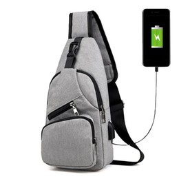 portable charging pack Promo Codes - Casual Travel Men Chest Bag Multifunction Portable Canvas USB Charging Crossbody Shoulder Pack Male Handbag Phone Bag