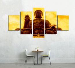 2019 buddha frames Kein Rahmen 5 Stücke HD Print Wohnzimmer Wand Kunst Poster Buddha Modern Home Dekorative Leinwand Ölgemälde Modular Gerahmte Bilder rabatt buddha frames