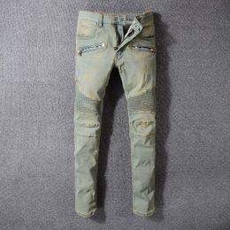 Wholesale cool slimming - Balmain Fashion Men's Distressed Ripped Jeans Famous Fashion Cool Designer Slim Motorcycle Biker Causal Denim Pants Runway Jeans