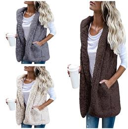Wholesale Ladies Hooded Cloaks - Sherpa Women Sleeveless Hoodie Faux Fur Vest Cardigan Stylish Ladies Waistcoat Soft Fleece Sherpa Outwear Winter Warm Cloak Coat Free Ship