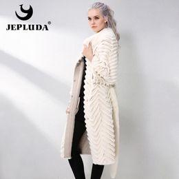 JEPLUDA длинный Рекс Кролик шуба с трикотажной подкладкой шерсть натуральный реальный мех пальто осень-зима натуральная кожа куртка женщин куртка C18110301 от