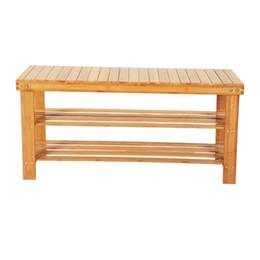 Portabottiglie in legno di bambù Organizzatore da tavolo o da scarpa, ripiano di stoccaggio a 3 ripiani, ideale per il bagno e il corridoio del corridoio d'ingresso da bambù vivo fornitori
