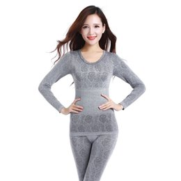 Wholesale Lace Long Underwear - Autumn Winter Women Long Johns Print Seamless Breathable Underwears Female Elastic Lace Warm Thermal Underwear Shaped Sets A682