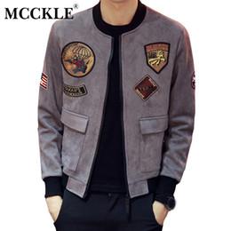 MCCKLE Hombres Fashion Gamuza 2018 Slim Fit Patch Design Bomber Jacket manga larga Casual Mens abrigos manteau homme chaquetas hombres desde fabricantes