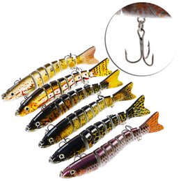 Wholesale pike minnow bait - High Quality Multi Jointed Pike Minnow Bait 8 Section 19g 12cm Swimbait Crankbait Plastic Lure 2 Treble Hook Fishing Tackle