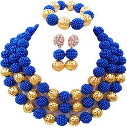abalorios de boda nigerianos azul real Rebajas Royal Blue Costume Necklace Earrings Nigerian Beads Conjunto de joyería africana Sistemas de la joyería nupcial de la boda 3ZZJS14