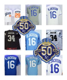 Wholesale Baby Base - 50th Patch Bo Jackson Jersey Men 16# 8# 29# Kansas City Auburn Oakland Jerseys Flexbase Cool Base Baby Blue Grey White Stitched