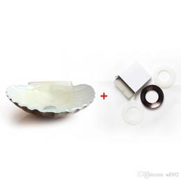 Lavabo de vidrio online-Mesa de arte de moda Lavabo de baño Novedad Ducha Habitación de vidrio Concha de peregrino en forma de cáscara Derretir Lavabos de lujo Diseño de lujo 228bw ZZ