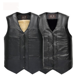 Ärmellose lederjacke herren online-Mens Leather Weste Winter Jacken Sleeveless Thick Outwear Mäntel Warme Westen Kaschmir Pelz Mantel Kostenloser Versand XL XXL XXXL