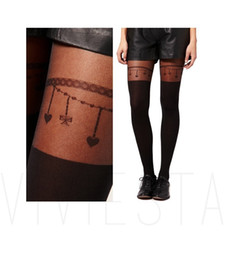 Wholesale Girls Black Lace Tights - THE KNEE TIGHTS - 120D + 30D Fashion Women Girls Sexy Black Sheer Lace Stud Thigh High Fake Stockings Pantyhose Pantys