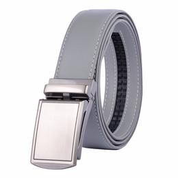 Wholesale belly belt for men - New Designer Popular Luxury Cowhide Leather Belt Gray Black Automatic Buckle Belly Waist Business Casual Belts For Men 3.4 Width