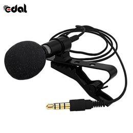 2019 micrófono de voz Mini micrófono de 3.5mm portátil Lavalier Tie Clip Micrófonos Microfono Mic para Speech Speech Lectures 2.4m Cable largo rebajas micrófono de voz