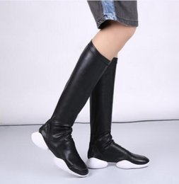 Wholesale Runway Boots - Plus size 45 women leather long booties black stretchy flats fall winter slim tall booties round toe shoes fashion runway tube botas femmes