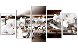 framed white floral paintings Promo Codes - 5 Pieces Canvas Painting White Orchid Flowers Wall Art Painting Diamond Fringe Background Wall Art For Home Decor with Wooden Framed Gifts