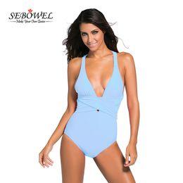 Wholesale Sexy Swimsuits Size Xs - SEBOWEL 2017 Sexy Deep V One Piece Swimsuit Women Backless Monokini Swimwear Plus size Bodysuit Swimming suit Bikini Femme XXXL